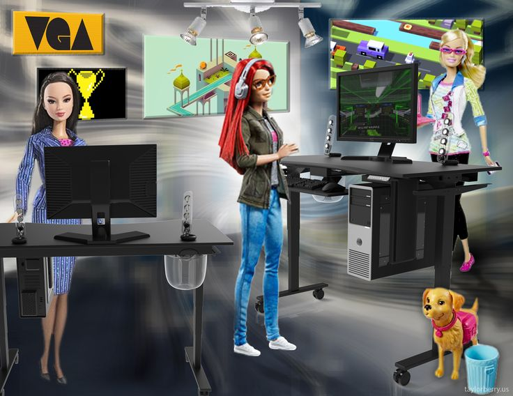 Game Developer Barbie & Her Standing Desk - Barbie is hitting it out of the park. As a game developer, she even has a standing desk. We upgraded her blue cylinder standing desk to an Evodesk as a virtual high five.