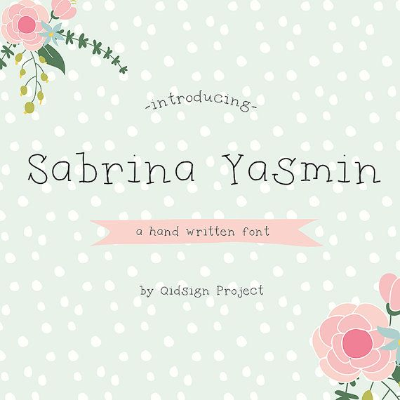Sabrina Yasmin Digital font-hand written by qidsignproject on Etsy