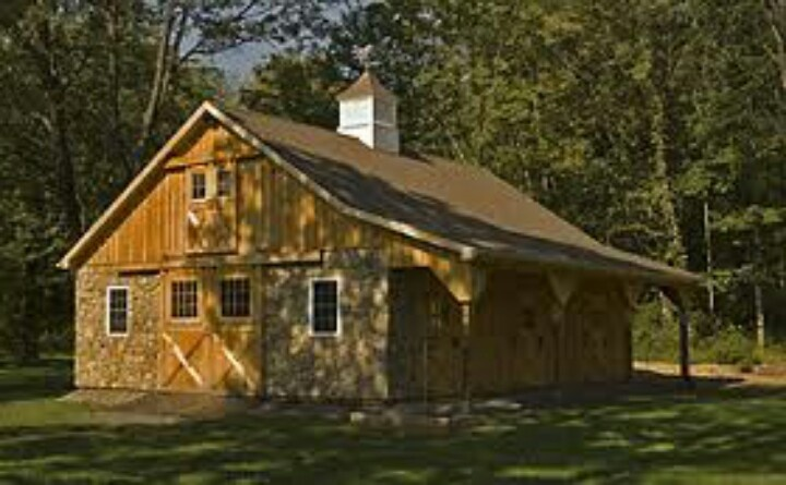 Small horse barn with overhang loft and stonework horse for Barn plans with loft apartment