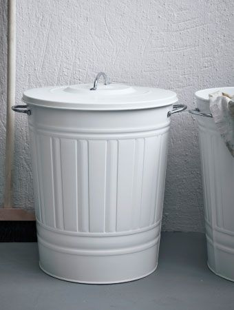 ikea KNODD white bin with lid in steel, or any color
