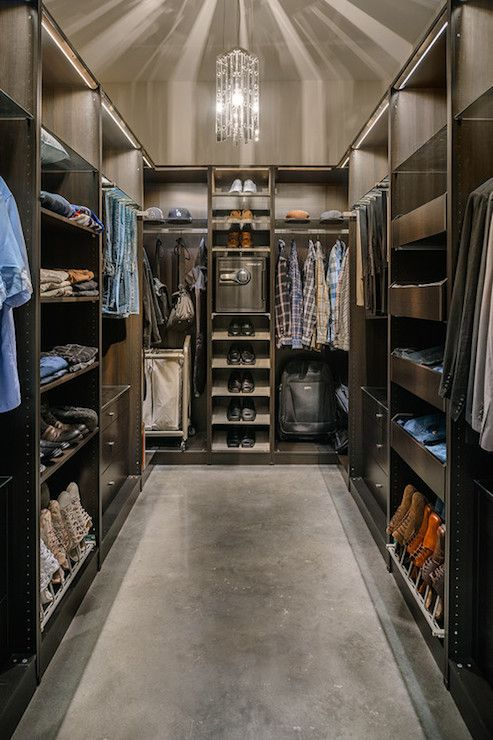Walk In Closet W/chocolate Brown Cabinets U0026 Concrete Floor