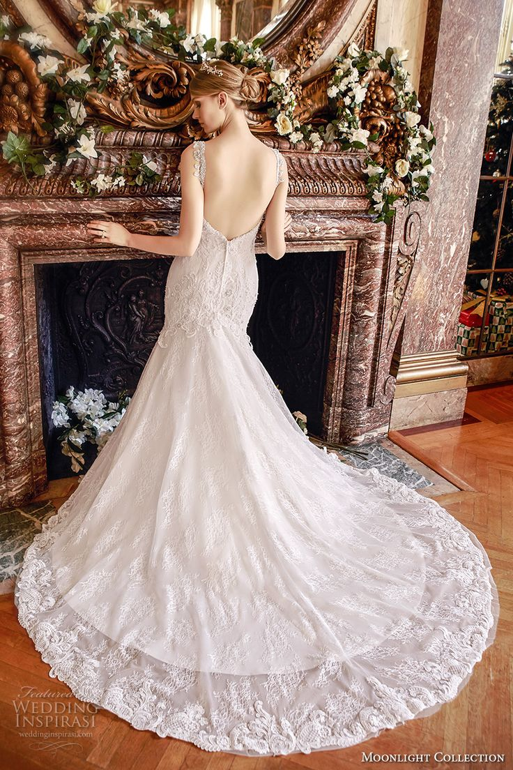 moonlight collection fall 2016 bridal sleeveless lace strap v neck heavily embellished bodice mermaid wedding dress open back cathedral train (j6436) bv