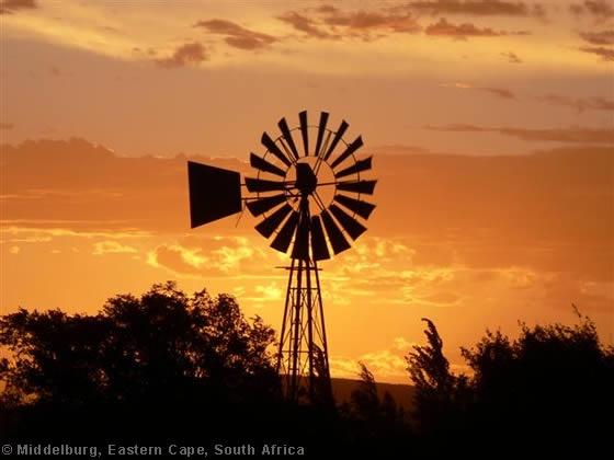 Sunset, windmill, Karoo farm