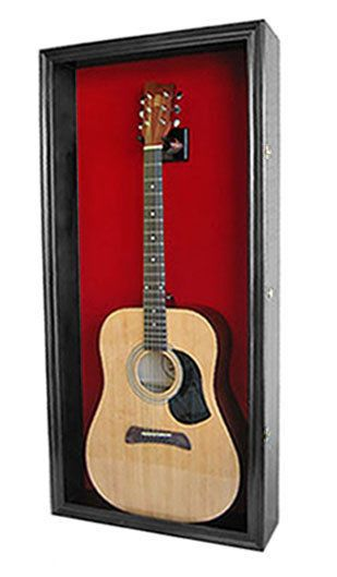 Acoustic Guitar Display Case Wall Cabinet, UV Protect Door w/ Lock-Gtar1(RD)-BL #DisplayGifts