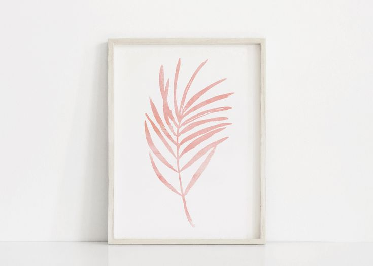 Impression de feuille rose. Blush Pink Art Botanical Art. Feuille rose clair Art. Impressions botaniques minimales. Art minimaliste. Art mural rose pâle et blanc   – Palm tattoos