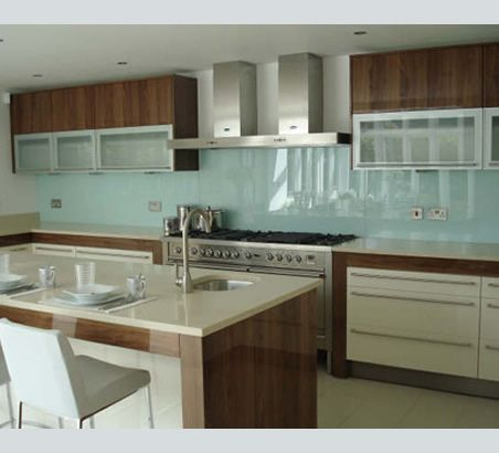 Blue Painted Glass Kitchen Splash Back  http://www.floatglassdesign.co.uk/painted_glass_about.php#