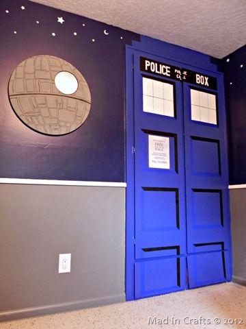 Dr Who tardis door: space geek bedroom tardis and death star