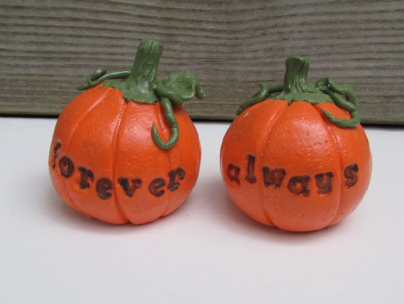 Check out this item in my Etsy shop https://www.etsy.com/listing/247349943/always-forever-pumpkins-wedding-cake