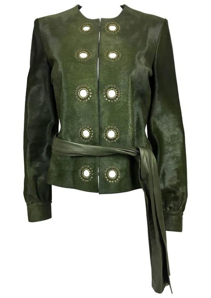 Yves Saint Laurent Moss Green Ponyskin Jacket With Eyelets - 2010s via House of Pre-Loved - Vintage Boutique. Click on the image to see more!