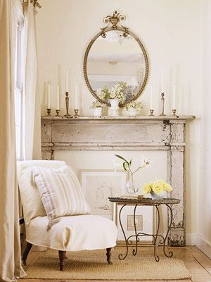 Vintage mantel sans fire... Still cosy and inviting, not to mention super duper pretty! (Image: Better Homes & Gardens)
