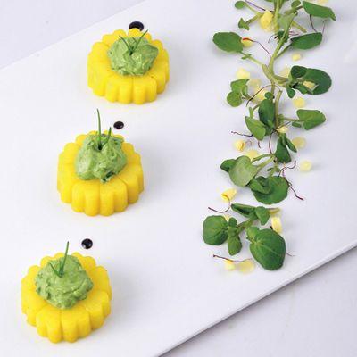 Marguerites de pomme de terre, crème de cresson au mascarpone