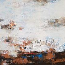 Abstrakt, Acrylbild auf Leinwand, Mischtechnik, Acrylfarben, Spachtelmasse, Krakelierlack, Galerie 3 - Atelier - Malschule Mesch Osnabrück