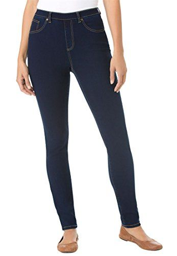 "Woman Within Plus Size Petite Skinny Pull-On Stretch Jeans  skinny leg gives you the most comfortable, best-proportioned fit  sit slightly above the waist  26"" inseam   faux pockets  back yoke for fit"