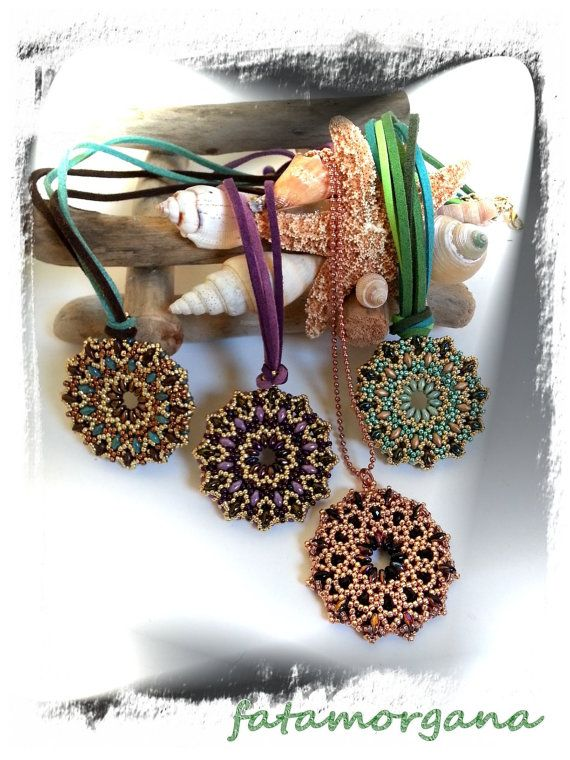 Pendant TUTORIAL with Superduo and seed beads by MagichePietre