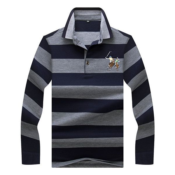 Mens Embroidery Logo Striped Printed Polo Shirt Spring Fall Casual Business Tee Tops