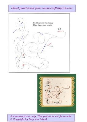 ED F The letter F on Craftsuprint designed by Emy van Schaik - Stitching with beads - Now available for download!