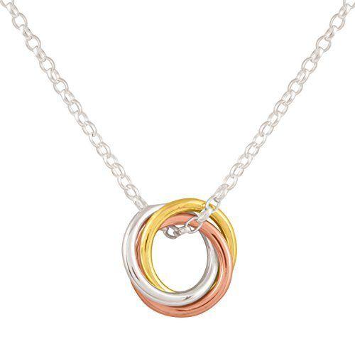 Colgante mini russian tres anillos entrelazados de tricolor hecho a mano para mujer.