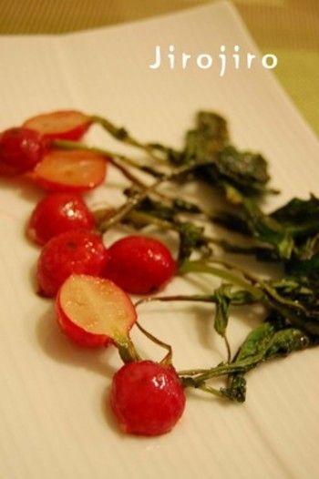 おもてなしにも♪可愛らしいラディッシュ(二十日大根)のレシピ ... 葉っぱごとソテーした姿が可愛らしい一品。 簡単ですぐできるのに、
