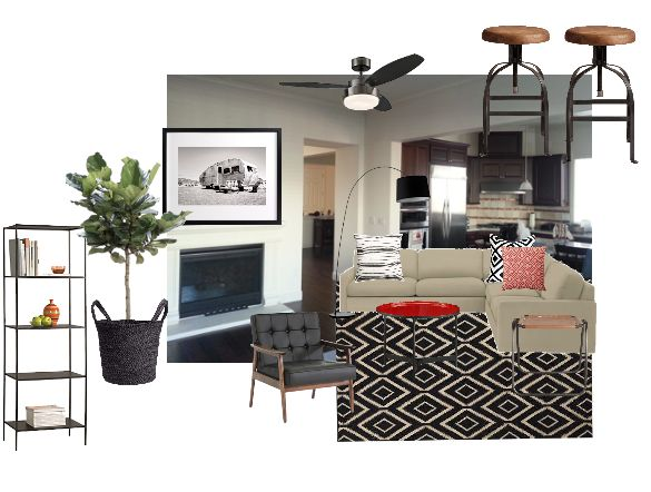 Bachelor Mini Makeover, Living Room, Masculine, coffee table, Red, contemporary, minted print, slim bookcase, woven rug, industrial bar stool, bar stool