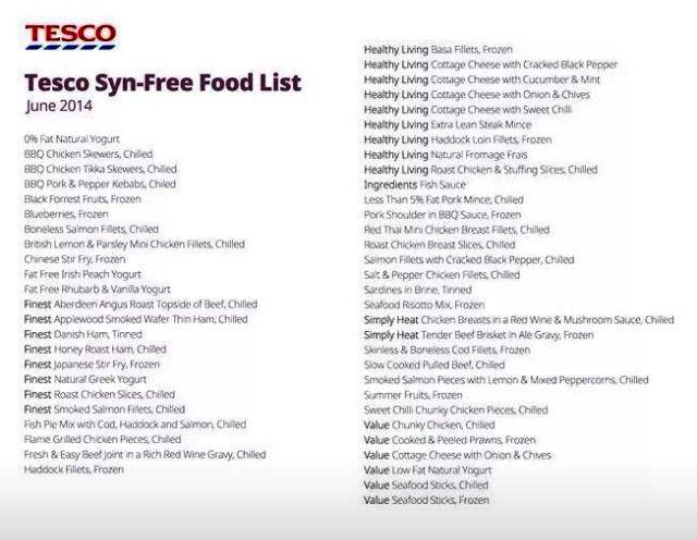 Tesco syns slimming world