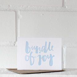 Bundle of Joy {blue} - letterpress card