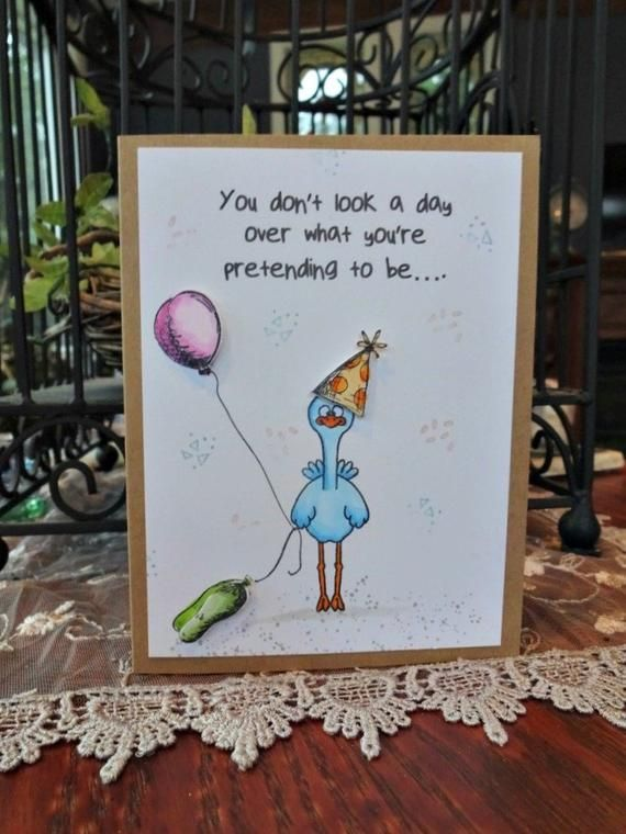 Funny Age Birthday Card You Re How Old Encouragement Friend Chicken With Balloons Insult Humor Personalize 30th Birthday Cards Homemade Cards Card Making