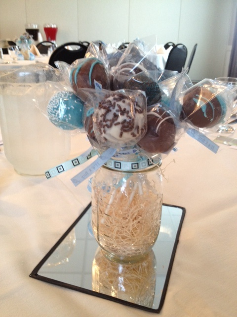 Cake Pops In Mason Jars As Centerpieces For Boy Baby Shower