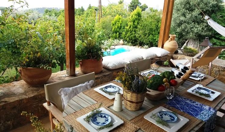 Dining table from rental house in Evia Island