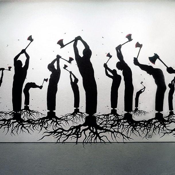 Elegí este stencil porque me parece interesante cómo a través de esta técnica se puede respresentar determinados temas. En la imágen se trara de dar un mensaje sobre la talación de los arboles usando este medio tan urbano para llegar a la gente.