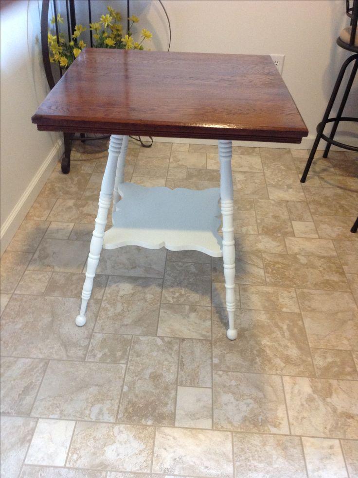 Oak side table stained on top Minwax Dark Walnut, bottom painted Creamy, semigloss, by Sherwin Williams. Minwax Polycrylic satin finish
