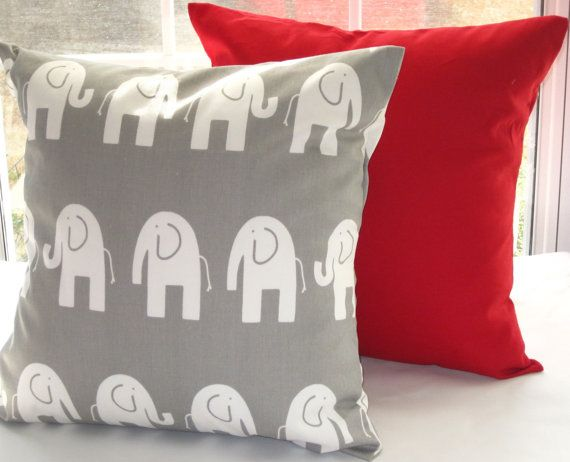 "Red Pillow, Grey Elephant Pillow, Decorative Throw Pillow, Nursery, 18"" x 18"" on Etsy, $34.00"