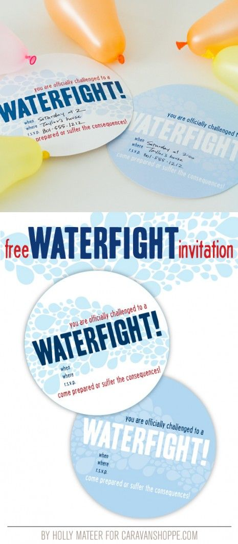 Fun printable water fight invitation by Holly Mateer for CaravanShoppe.com - I'm already dreaming of summer again!