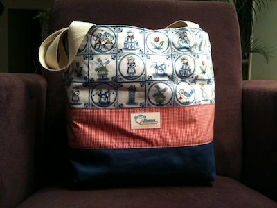 Tote bag made with fabrics in a Dutch style.