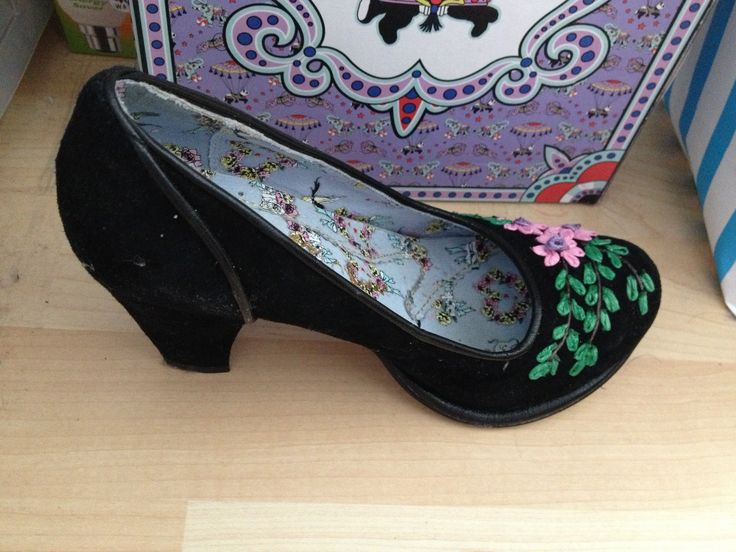 Irregular choice black flower heels