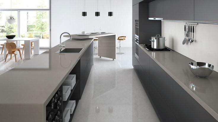 Caesarstone Visualizer - Urban benctops incl Island, dark grey cabinetry