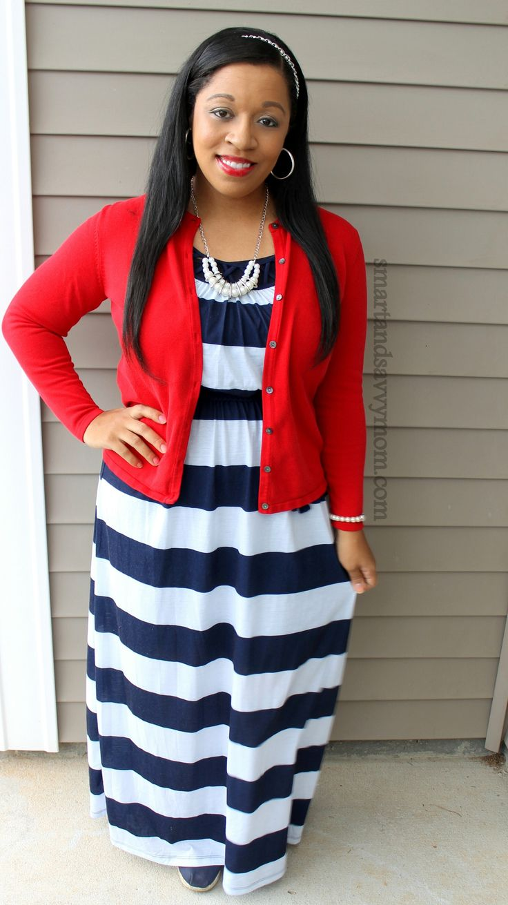 Navy and whtie striped dress red cardigan and pearl jewelry. Modest outfit ideas. Red White and ...
