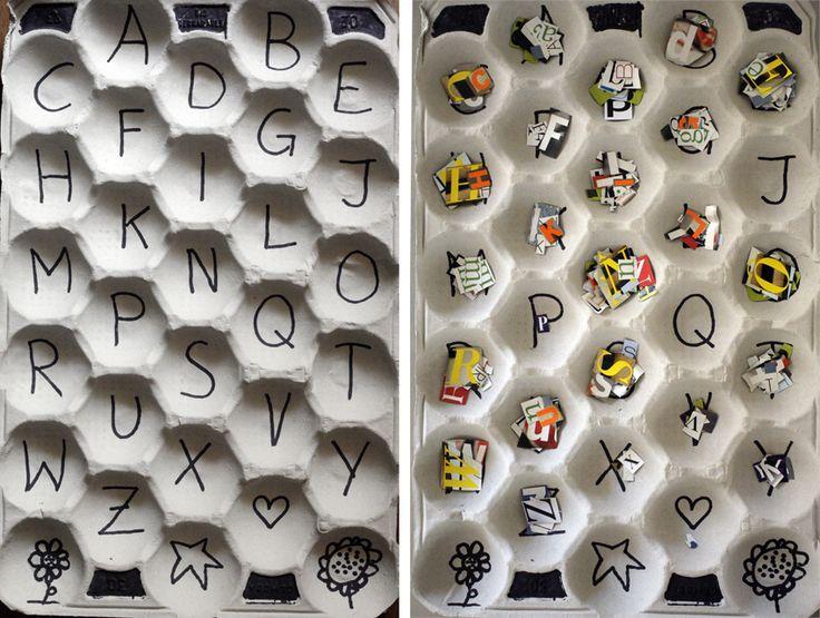 Aprendiendo el alfabeto recortando letras y ordenándolas. Learning the alphabet cutting letters and sort them.