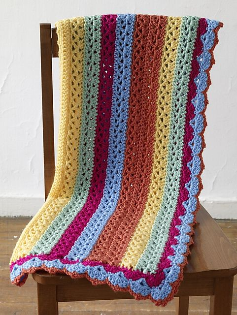 Ravelry Summer Stripes Baby Afghan Crochet Pattern By