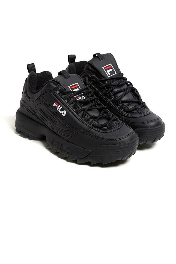 9fcbb84e2adc Brand  FILA Product  FILA Disruptor II Black Trainers Brandcolor  Black  DESCRIPTION  Leather upper Textile lining Platform rubber outsole