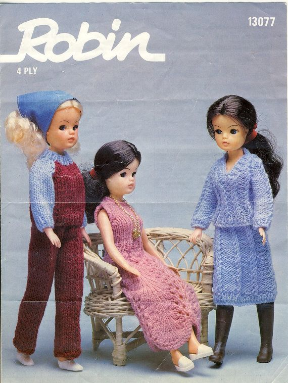 Robin 13077 Sindy Doll Knitting Pattern -  Vintage Pattern - Three Doll's Outfits (1970s) Doll Clothes