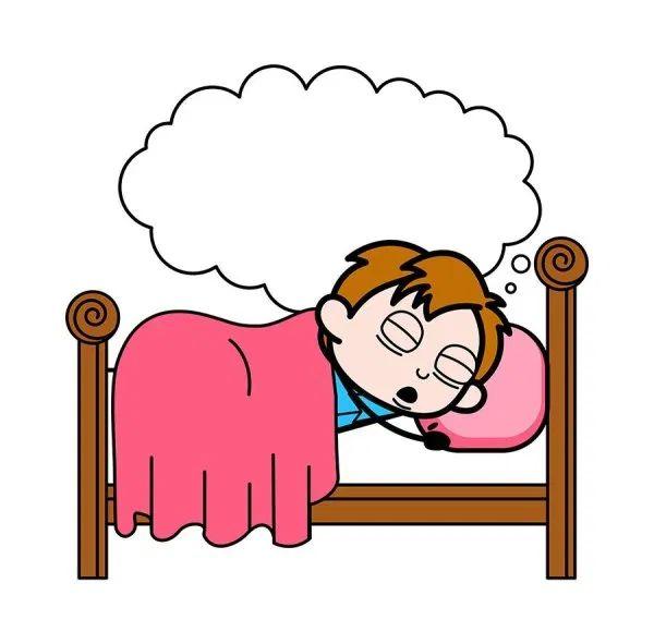 Sleeping and Dreaming - School Boy Cartoon Character