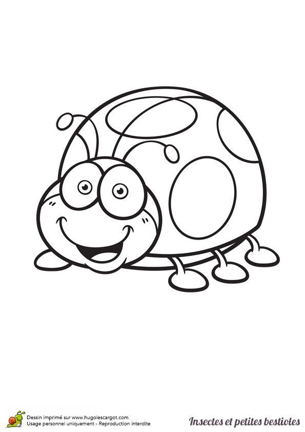 Dessin à colorier insecte et petite bestiole, une coccinelle - Hugolescargot.com