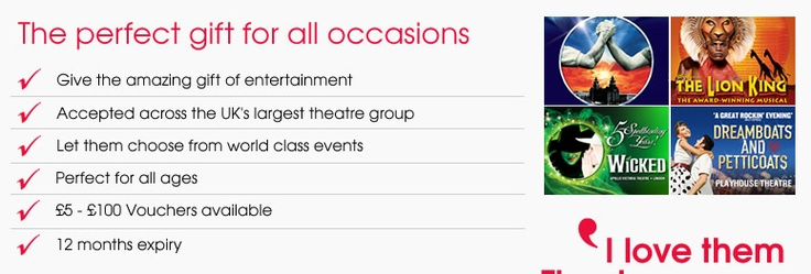 Theatre vouchers! Always a great Christmas present idea when you don't know what to buy someone. That's right, we said the C word!