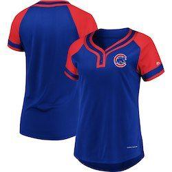 d0c03d682 Chicago Cubs Majestic Women s League Diva Raglan Placket T-Shirt – Royal