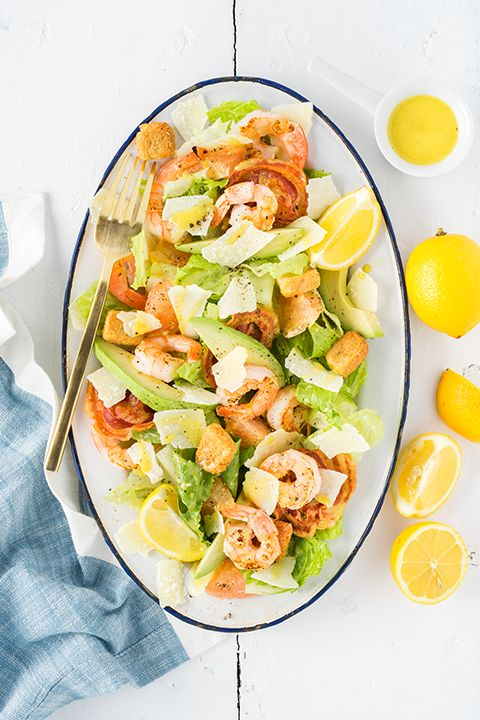 INGREDIENTS BY SAPUTO   Need dinner inspiration this week? How does the best-ever Caesar salad recipe sound? This simple mix of lettuce, avocado, shrimp, pancetta and Parmesan Petals is perfect for the whole family.