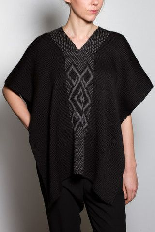 Symbol Manta Poncho, delicate, soft to the touch, and lightweight. Hand made on Mapuche looms with fine baby alpaca dyed with Maqui leaves, moss, and herbs. Shop now at http://www.madebyvoz.com/collections/tops/products/symbol-manta-1
