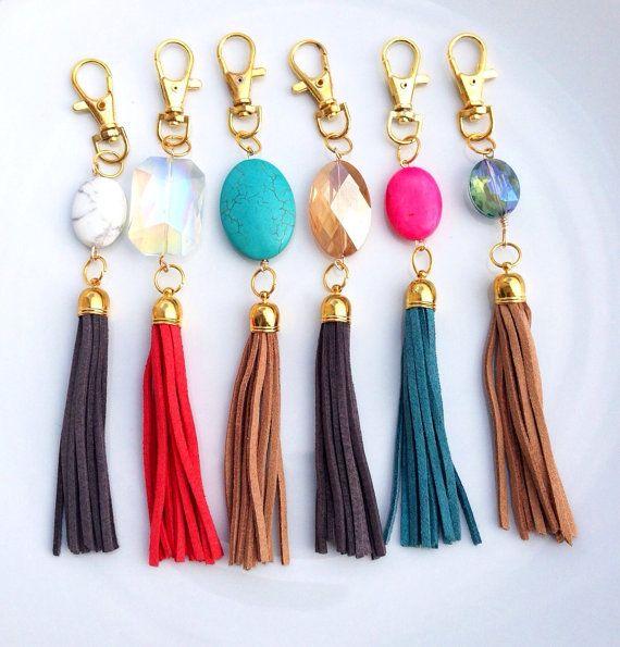 Keychain- Leather Suede Gemstone & Tassel or Bag Purse Charm