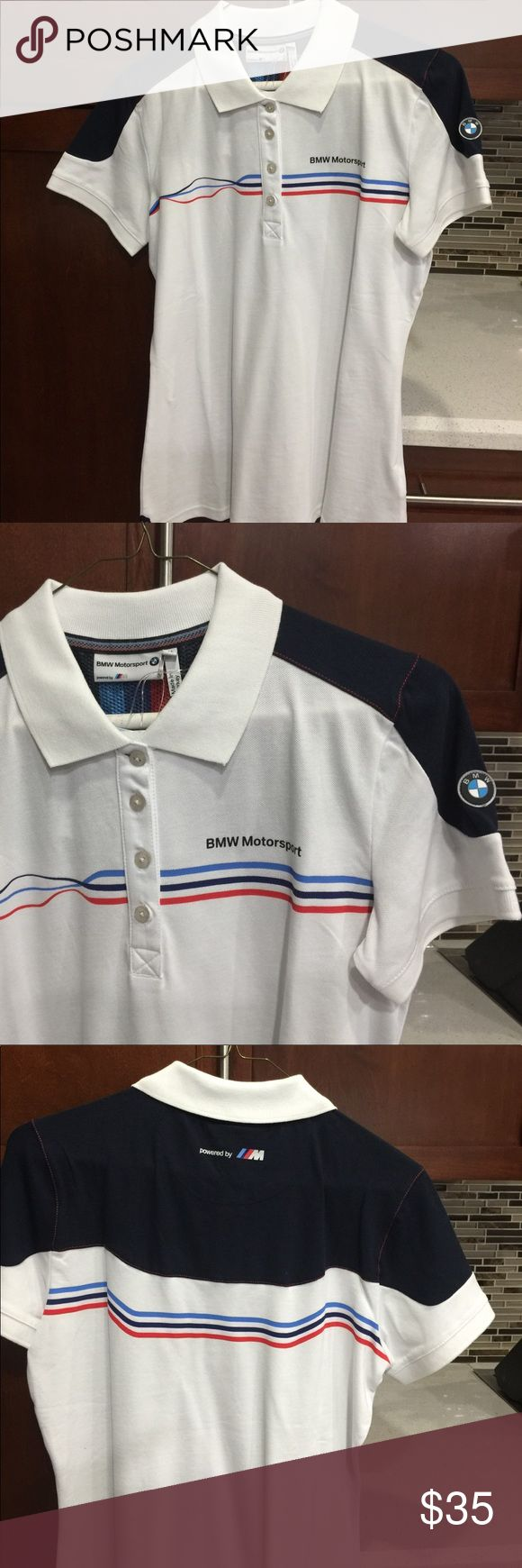 Women polo BMW shirt BMW ladies Motorsport Polo shirt. White with blue & red stripes. Front Shoulder and back shoulder area in dark blue. BMW Emblem on left sleeve. 4 buttons on the front BMW Tops Blouses