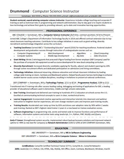 computer science resume sample. Resume Example. Resume CV Cover Letter