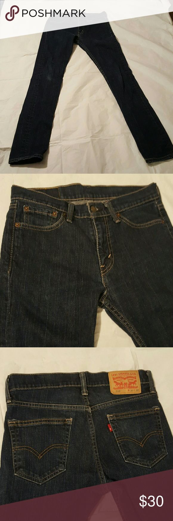 Awesome Mens Levis 510 Denim  W 30 L32 Hi I am selling these awesome Mens Levi 510 dark denim jeans. They are size W 30 L 32.They are in great condition. I also do a 15% discount on 2 item bundles. Please let me know if you have any questions. Happy Poshing!😄💗 Levi's Jeans Skinny